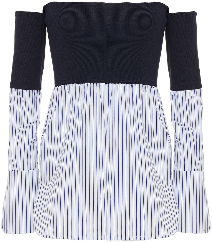 Victoria Victoria Beckham Off-the-shoulder Ribbed-knit And Striped Cotton-poplin Top