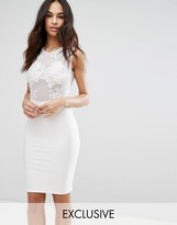 Club L Lace Applique Mesh Midi Dress