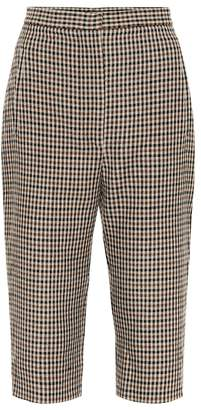 KHAITE Ruby checked wool blend shorts