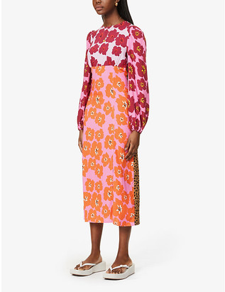 NEVER FULLY DRESSED Davina contrast floral-print woven midi dress