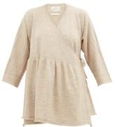 LAUREN MANOOGIAN Alpaca And Linen-blend Wrap Cardigan - Womens - Light Beige