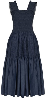 Molly Goddard Shirred Tiered Cotton Midi Dress