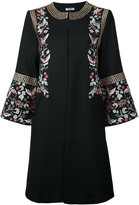 Vilshenko embroidered flower coat - women - Polyester/Virgin Wool - 8