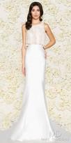 Mac Duggal Sheer Pearl Beaded Mikado Trumpet Evening Dress
