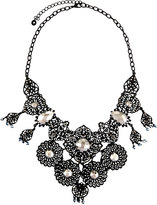 Lydell NYC Filigree & Crystal Statement Bib Necklace, Black