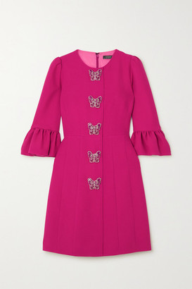 Andrew Gn Embellished Cady Mini Dress - Fuchsia