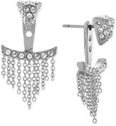 Vince Camuto Silver-Tone Pavé Triangle and Chain Fringe Ear Jackets