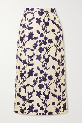 Brock Collection Floral-embroidered Shantung Midi Skirt - Cream