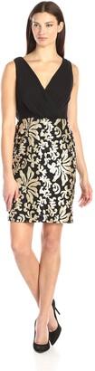 SL Fashions Women's Sleeveless V Neck Sequin Skirt Dress