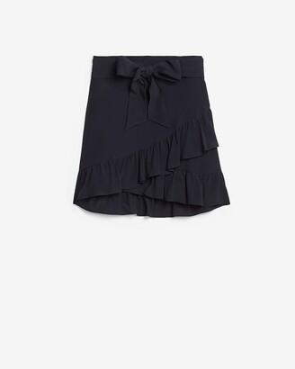 Express High Waisted Ruffle Tie Mini Skirt