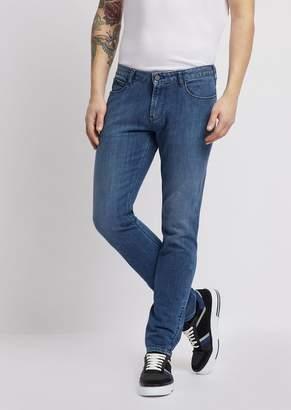 Emporio Armani J36 Cotton Twill Denim Jeans With Logoed Scarf
