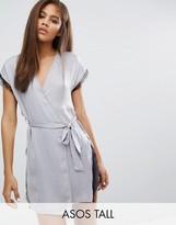 ASOS Tall ASOS TALL Lace Wrap Satin & Lace Mini Robe