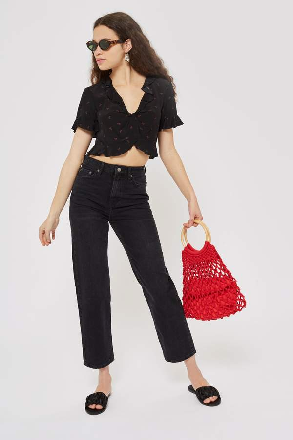 Topshop Womens Straight Crop Jeans - Washed Black