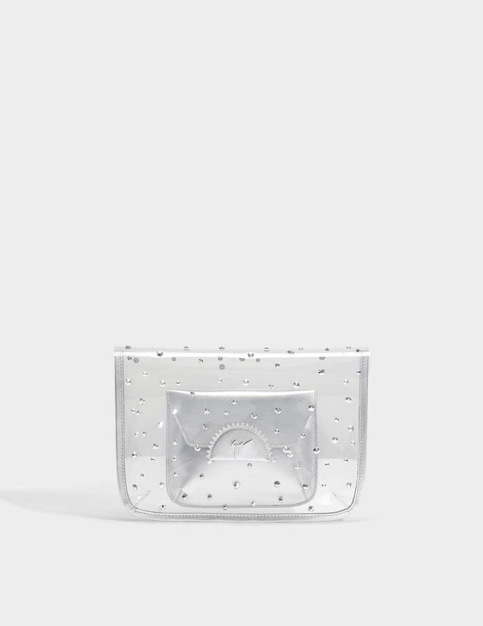 Giuseppe Zanotti Transparent Clutch with Pouch in Silver PVC