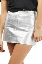 Topshop Petite Women's Moto High Waist Metallic Denim Miniskirt