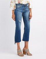 Charlotte Russe Distressed Denim Crop Flare Jeans