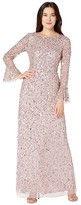 Adrianna Papell Beaded Evening Gown with Bell Sleeves (Cameo) Women's Dress