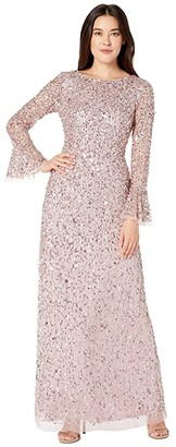 Adrianna Papell Beaded Evening Gown with Bell Sleeves