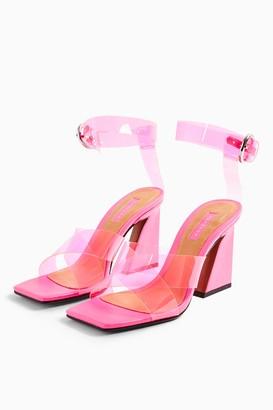 Topshop RINA Pink Flare Block Heels