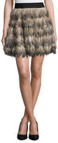 Alice + Olivia Cina Feather Flared Mini Skirt