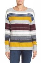 Caslon Back Button Stripe Knit Sweater (Regular & Petite)