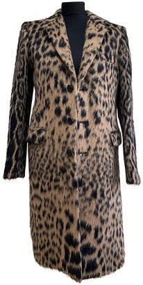 Saint Laurent Camel Wool Coat for Women