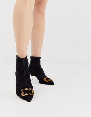Kurt Geiger London Bellevue black leather kitten heeled ankle boots with contrast gold buckle
