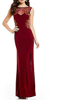 B. Darlin Bead Swirl Embellished Illusion Yoke Side-Slit Long Dress