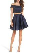 La Femme Women's Off The Shoulder Two-Piece Fit & Flare Dress