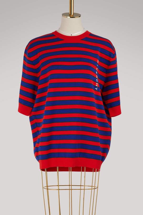 Givenchy Cropped-sleeve striped sweater