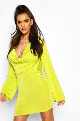 boohoo Textured Slinky Cowl Front Shift Dress