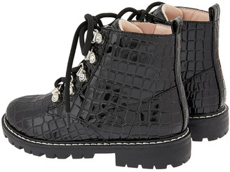 Monsoon Girls Patent Texture Lace Up Boot - Black