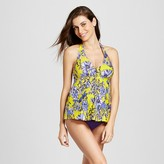 Fortune Maternity Floral Print Halter Tankini Swim Top - Sea Angel