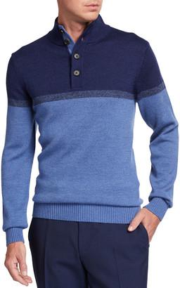 Neiman Marcus Men's Colorblock Button-Top Pullover Sweater