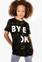 boohoo Girls Spliced Slogan Frill Hem Tee