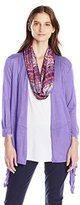 Notations Women's 3/4 Sleeve Sharkbite Cozy Cardigan with Knit Inset and Printed Scarf 3fer