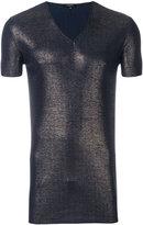 Unconditional metallic ribbed V-neck T-shirt