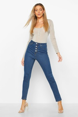 boohoo Exposed Button Front High Rise Skinny Jeans