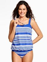 Talbots Breezy Blouson Tankini Top - Tropical Stripes