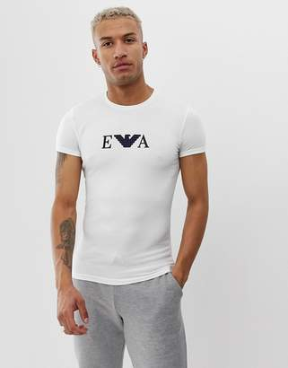Emporio Armani slim fit EVA logo lounge t-shirt in white
