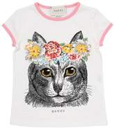 Gucci Cat Printed Cotton Jersey T-Shirt