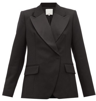 Tibi Peaked-lapel Single-breasted Wool Blazer - Womens - Black