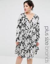 Club L Plus Jersey Skater Dress In Mono Floral Print