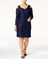 Alex Evenings Plus Size Sequined Lace Cold-Shoulder Dress