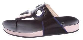 Fendi Monster Leather Thong Sandals