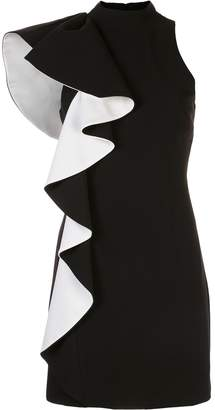 Halston ruffled mini dress