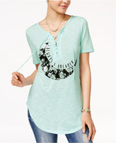 Hybrid Juniors' Mystical Lace-Up Top
