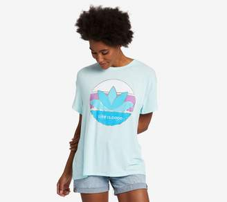 Life is Good Color Block Lotus Slouchy T-Shirt