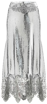 Paco Rabanne Sequined high-rise midi skirt