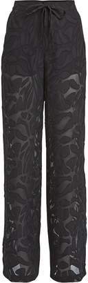 Jonathan Simkhai Night Night By Sheer Panel Drawstring Pants